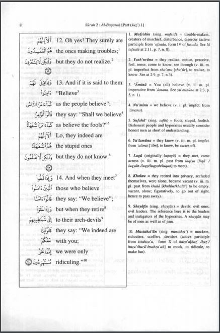 Word for Word Meaning of Qur'an, Mohar Ali (W/Grammatical Notes)