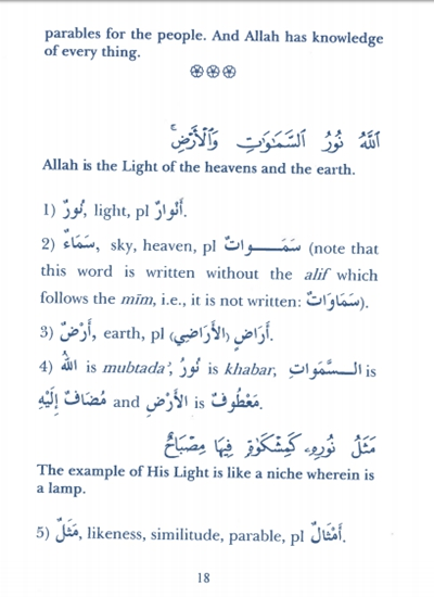 Nur-un 'Ala Nur Ayat 35-46: Lexical & Grammatical Notes