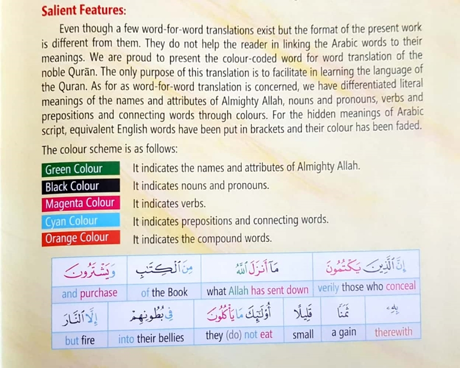 Colour Word-For-Word Noble Qur'an Arb-Eng, W/Grammatical Terms